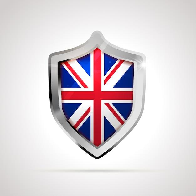 Флаг великобритании, спроектированный как глянцевый щит Premium векторы