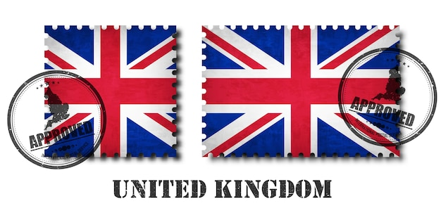 United kingdom of great britain flag pattern postage stamp Premium Vector
