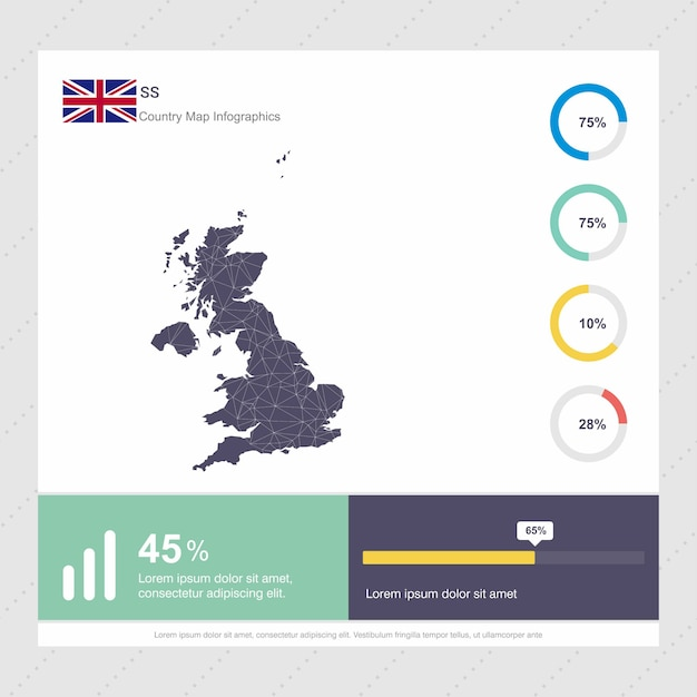United kingdom map & flag infographics template Free Vector