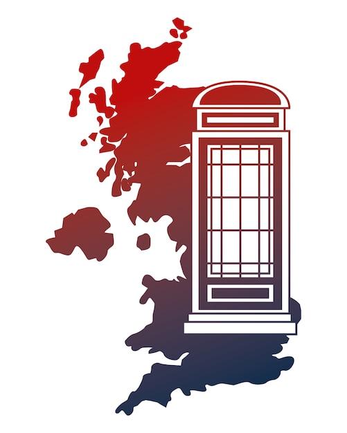 United kingdom map telephone booth vector illustration Premium Vector