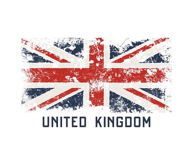 グランジ効果を持つ英国のtシャツとアパレルデザイン。 Premiumベクター