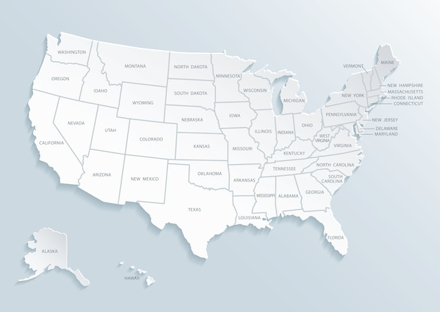 United state of america map with city names. Vector ...