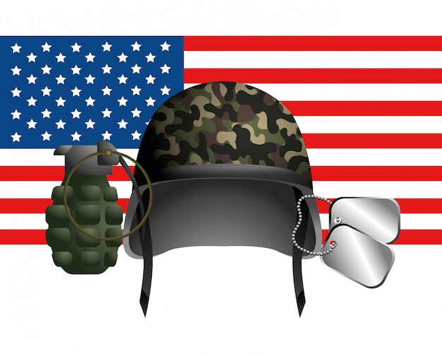 United state flag with military helmet Premium Vector