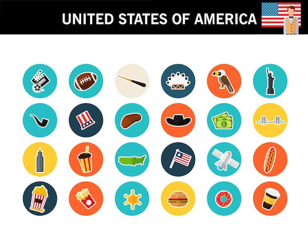 United states of america concept flat icons Premium Vector