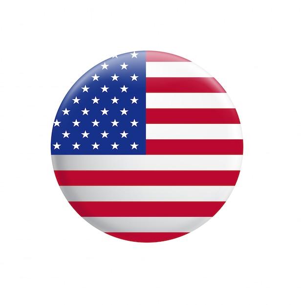United states of america flag. usa flag button Premium Vector