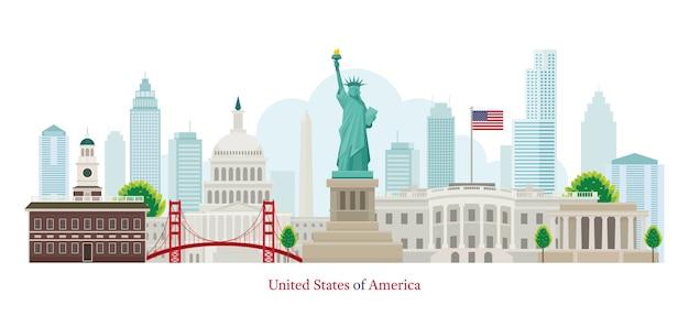 United states of america landmarks Premium Vector