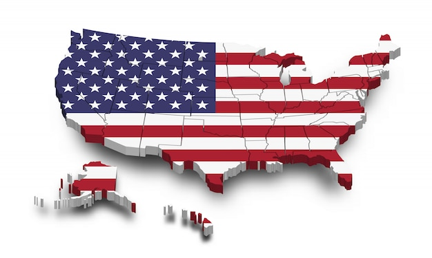 Map Of America 3d Vector.United States Of America Map And Flag 3d Shape Design Vector