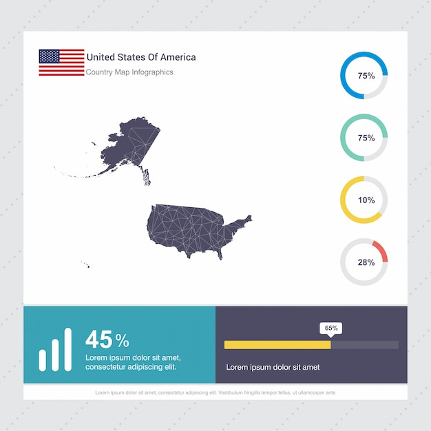 United states of america map & flag infographics Vector ...