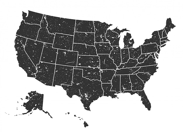 United states of america map . grunge style Premium Vector