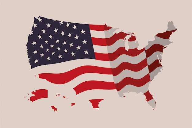 United states of america map with flag Premium Vector