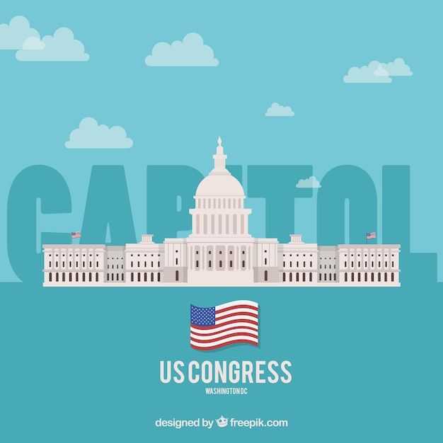 United states congress building in flat style Free Vector