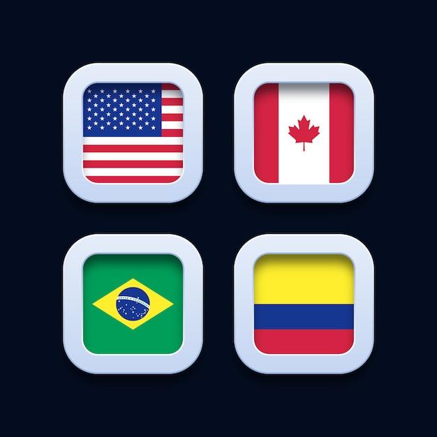 Соединенные штаты америки, канада, бразилия и колумбия флаги 3d значки кнопок Premium векторы