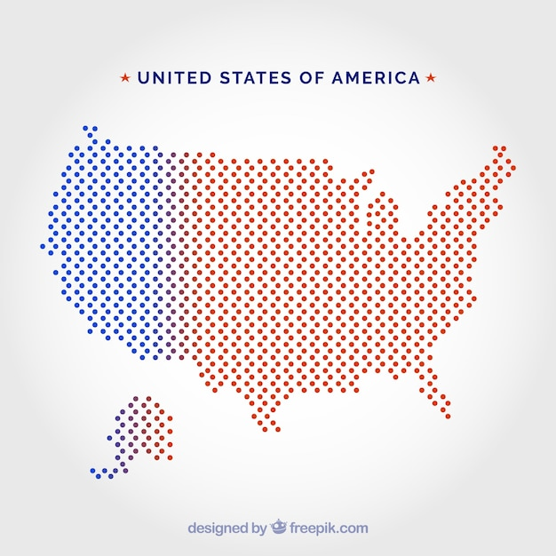 United States Of America Dot Map Vector Free Download - Free vector us map with states