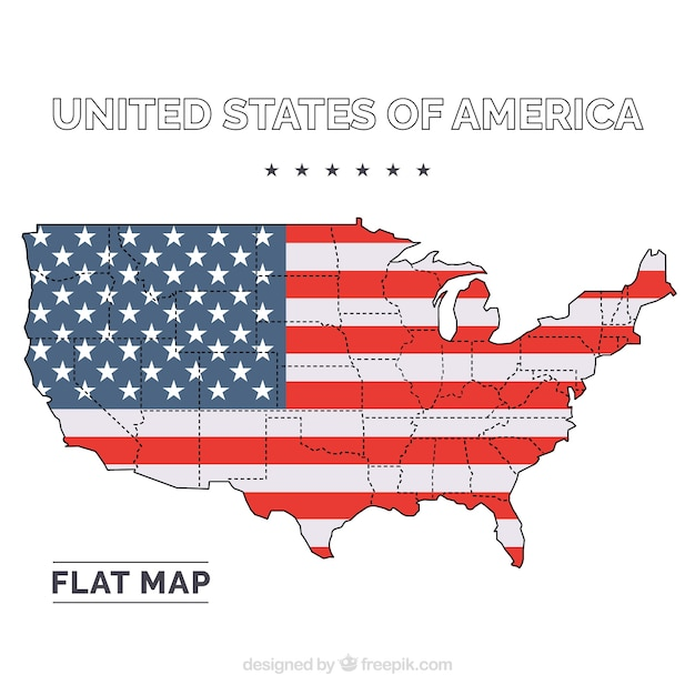 United States Of America Flat Map Vector Free Download - Us map flat