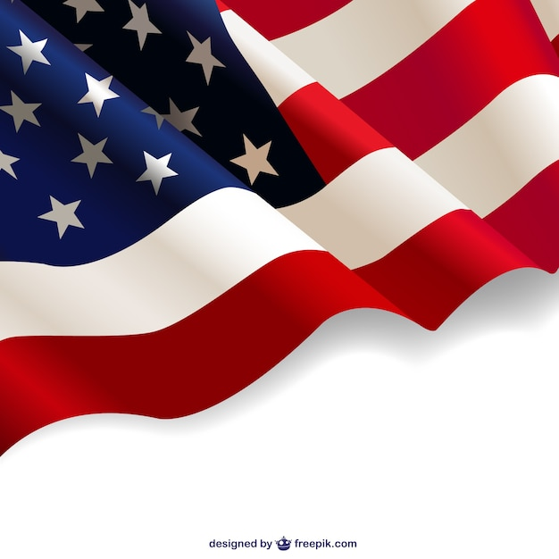 United States waving flag Free Vector
