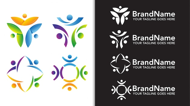 Набор шаблонов логотипа команды единства людей Premium векторы