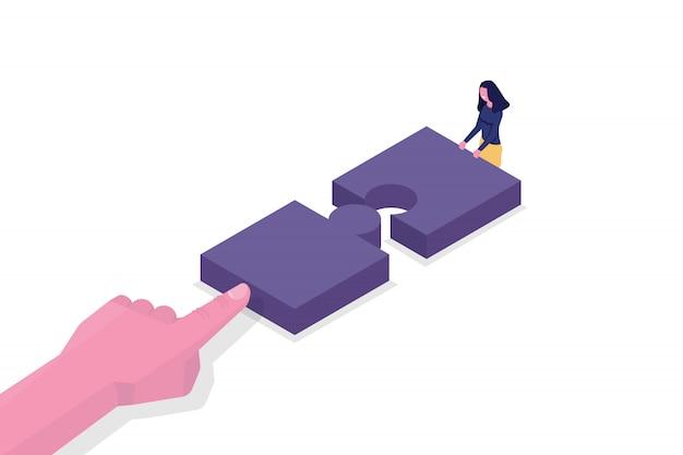 団結、チームワーク等尺性概念。 2つのパズルのピースを接続します。ベクトルイラスト。 Premiumベクター
