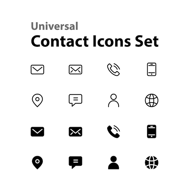 universal contact icons set vector