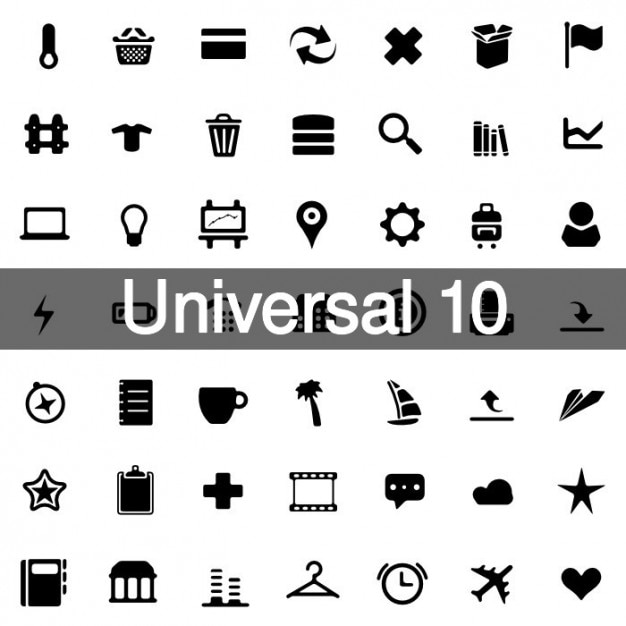 Universal icons pack 10 Free Vector