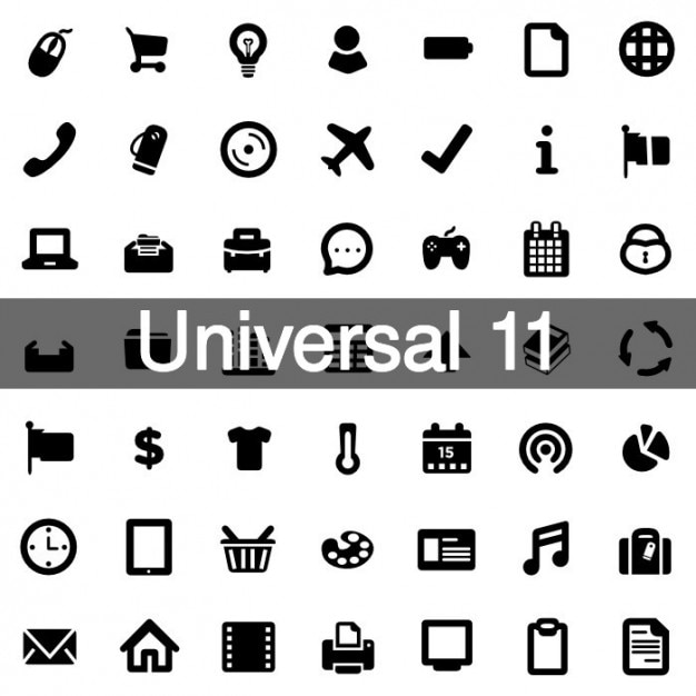 Universal icons pack 11 Free Vector