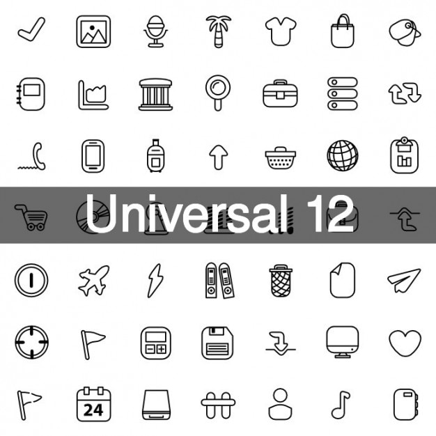 Universal icons pack 12 Free Vector