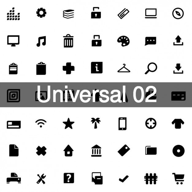 Universal icons pack 2 Free Vector