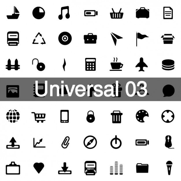 Universal icons pack 3 Free Vector
