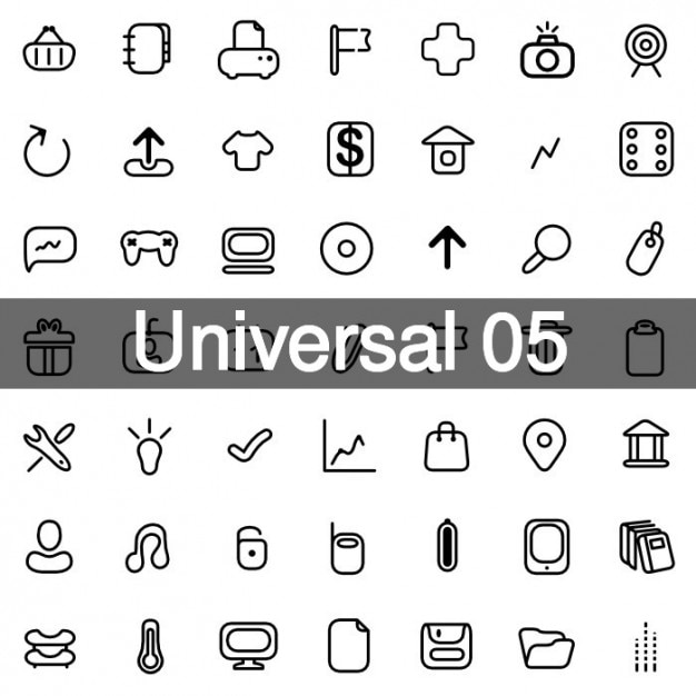 Universal icons pack 5 Free Vector