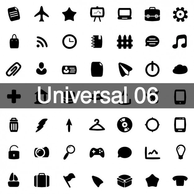 Universal icons pack 6 Free Vector