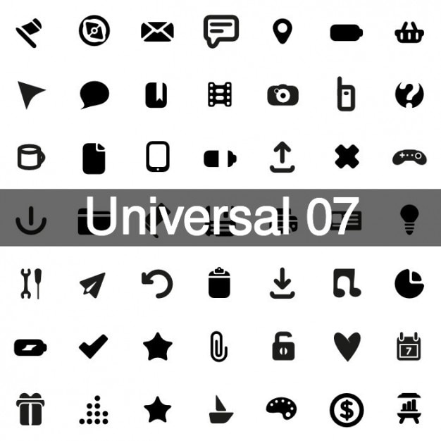 Universal icons pack 7 Free Vector