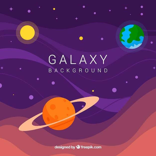 Universe and planets background  Free Vector