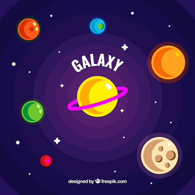 Universe background with colorful planets in flat design