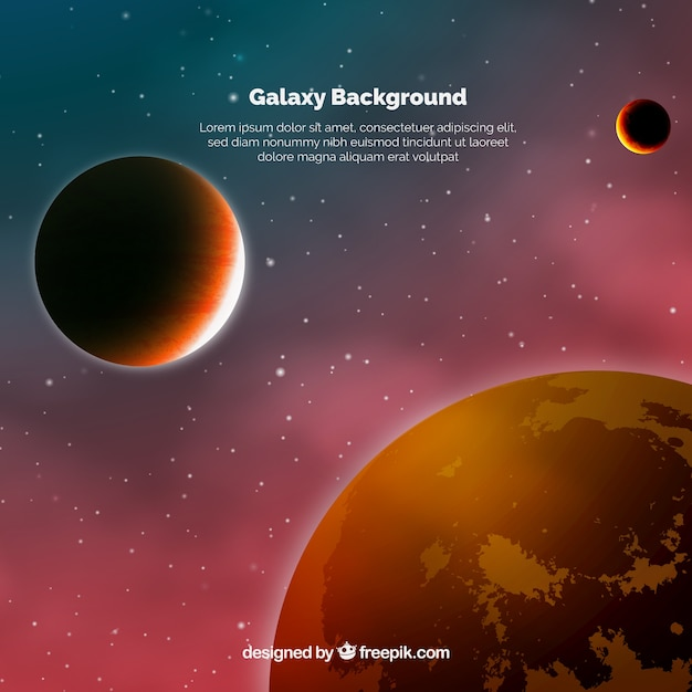 Universe background with reddish tones planets
