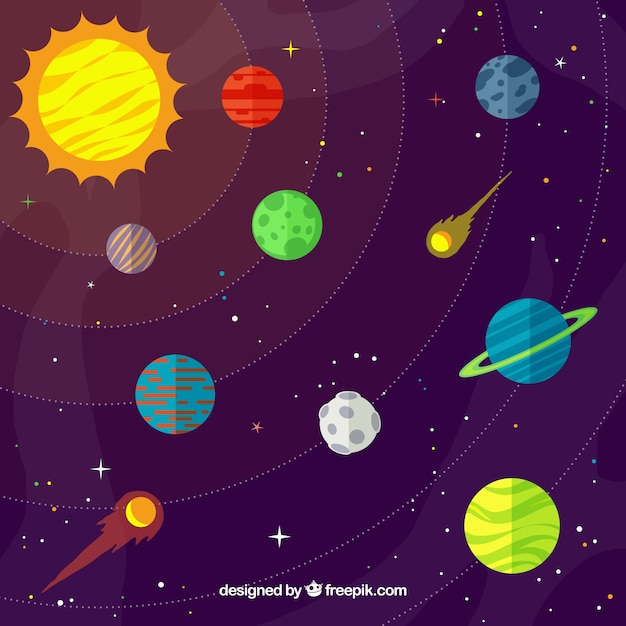 Universe background with sun and colorful planets in flat design