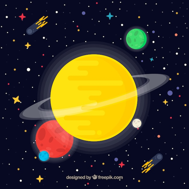 Universe background with yellow planet