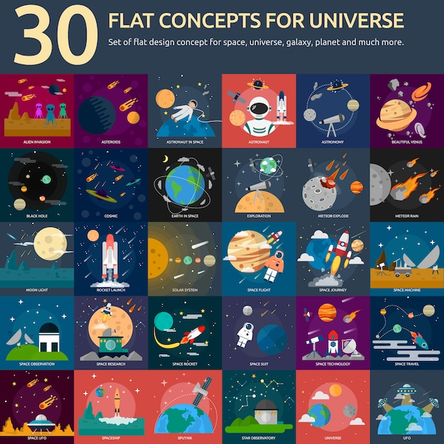 Universe designs collection Free Vector