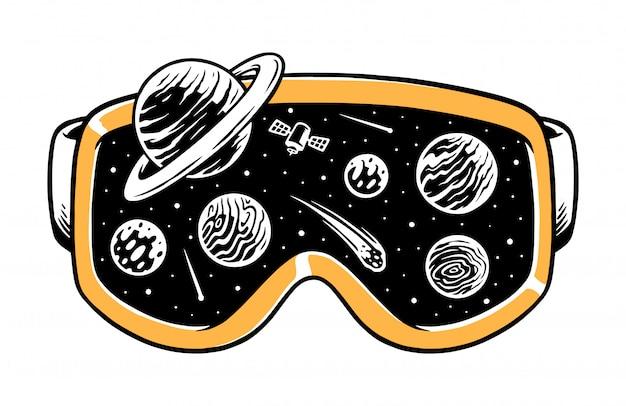 ゴーグルの図の宇宙 Premiumベクター