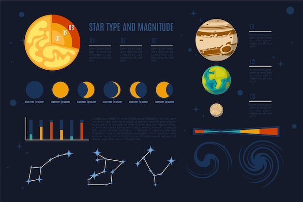 Universe infographic with planets Free Vector