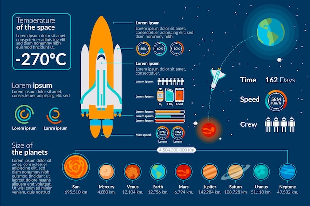 Universe infographic with rocket Free Vector