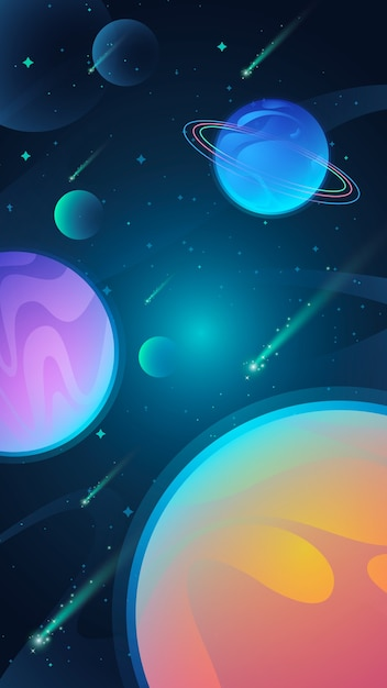 Universe mobile wallpaper with planets Free Vector