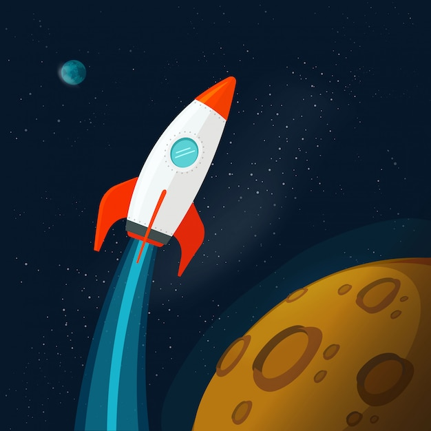 Universe or outer space with planets and rocket or spaceship flying Premium Vector