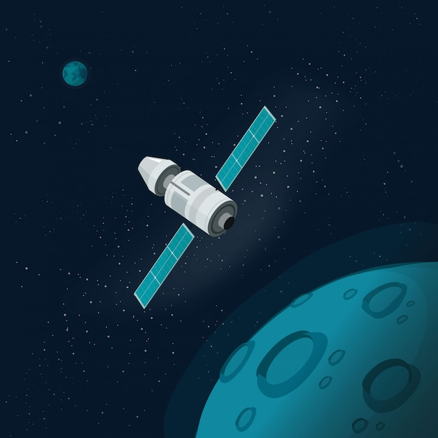 Universe satellite or outer space with planets and spaceship Premium Vector