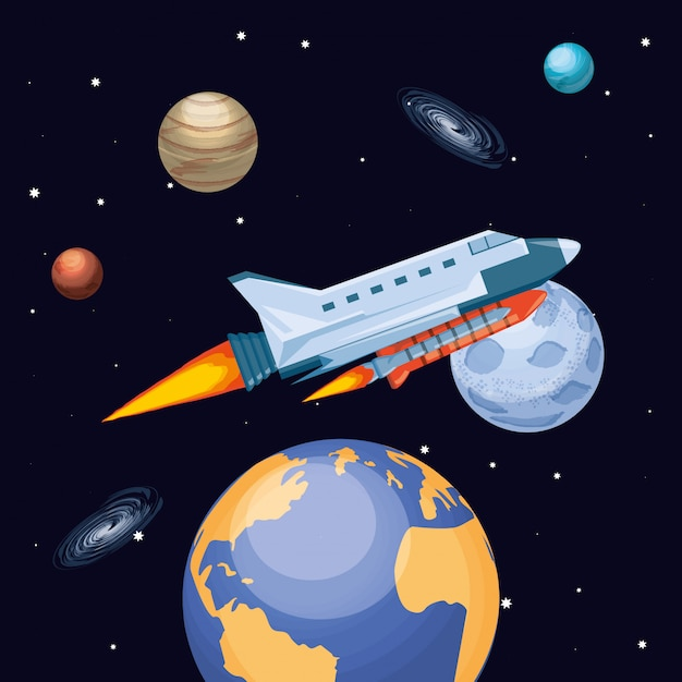 Universe and space rocket flying Premium Vector