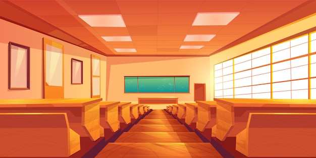 University auditorium cartoon vector interior illustration Free Vector