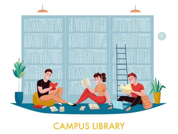 Библиотека книжного шкафа университетского городка с плоскими композициями для студентов, читающих книги с книжными полками Бесплатные векторы