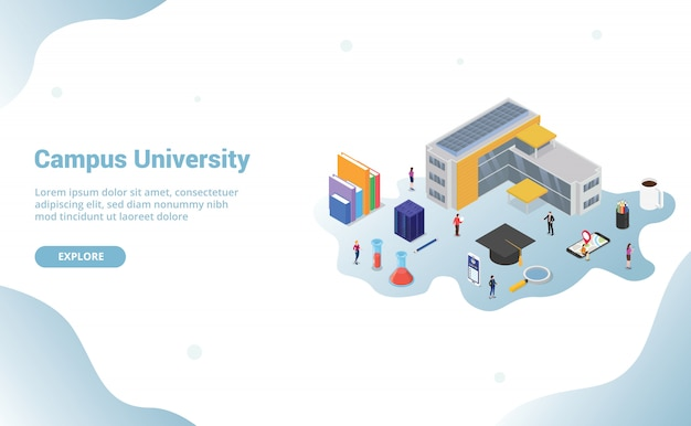 University campus life concept with big building and some related icon in education for website template landing homepage with modern isometric style Premium Vector