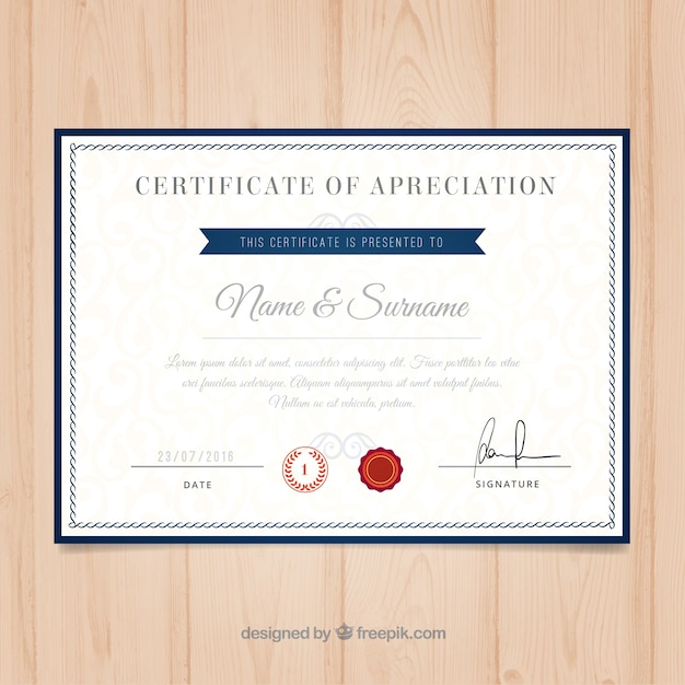 University Certificate Template Vector Free Download