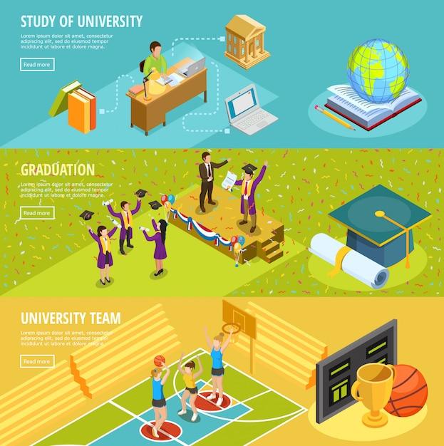 University education 3 isometric horizontal banners Free Vector
