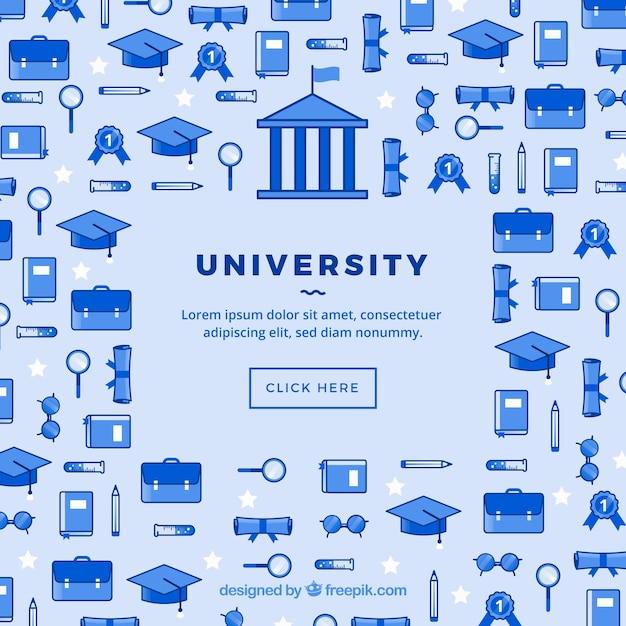 University icons social media background  Free Vector