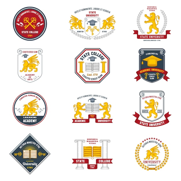 University labels colored Free Vector